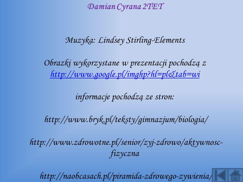 Autor: Damian Cyrana 2TET Muzyka: Lindsey Stirling-Elements Obrazki wykorzystane w prezentacji pochodzą z http://www.google.pl/imghp?hl=pl&tab=wi info