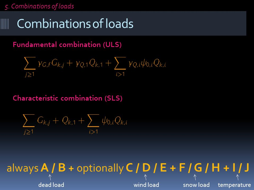 Combinations of loads Fundamental combination (ULS) Characteristic combination (SLS) 5.