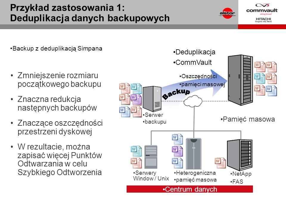 Zmniejszenie rozmiaru początkowego backupu Znaczna redukcja następnych backupów Znaczące oszczędności przestrzeni dyskowej W rezultacie, można zapisać