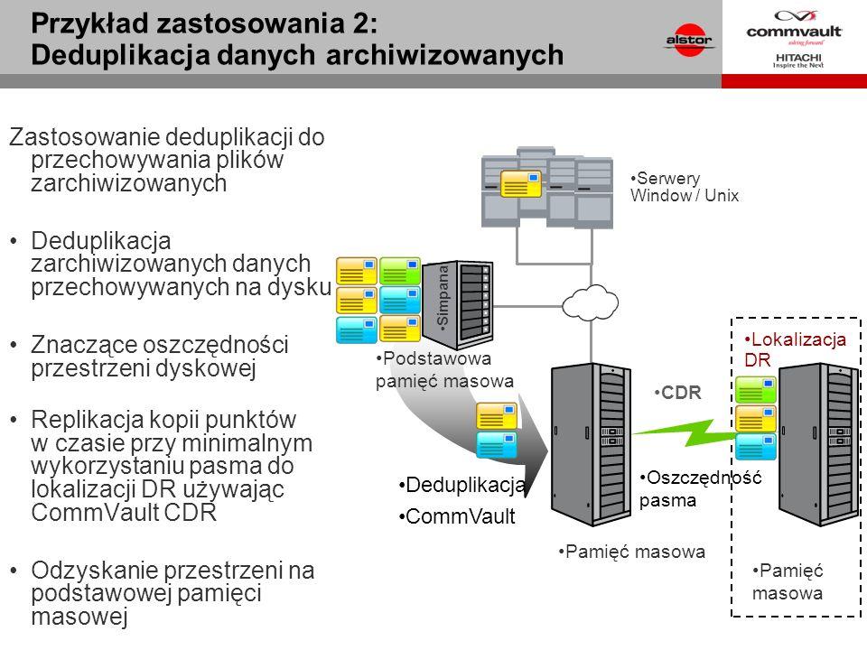 Zastosowanie deduplikacji do przechowywania plików zarchiwizowanych Deduplikacja zarchiwizowanych danych przechowywanych na dysku Znaczące oszczędnośc