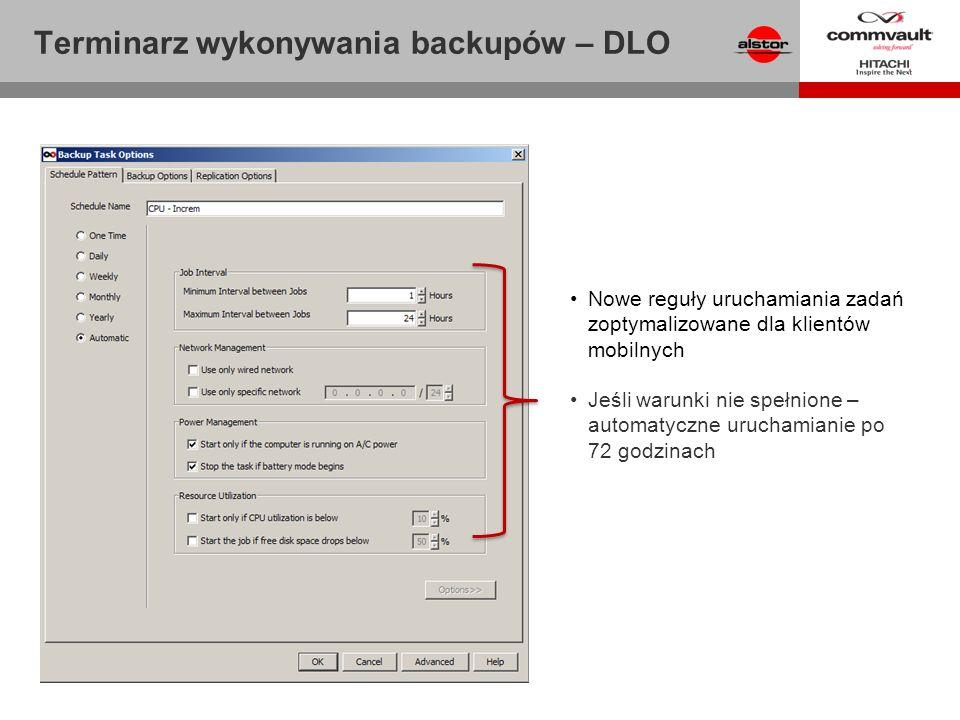 Terminarz wykonywania backupów – DLO Nowe reguły uruchamiania zadań zoptymalizowane dla klientów mobilnych Jeśli warunki nie spełnione – automatyczne