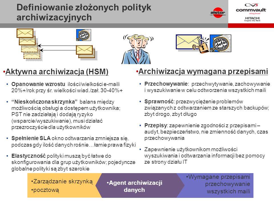 Archiwizacja wymagana przepisami Przechowywanie: przechwytywanie, zachowywanie i wyszukiwanie w celu odtworzenia wszystkich maili Sprawność: przezwyci