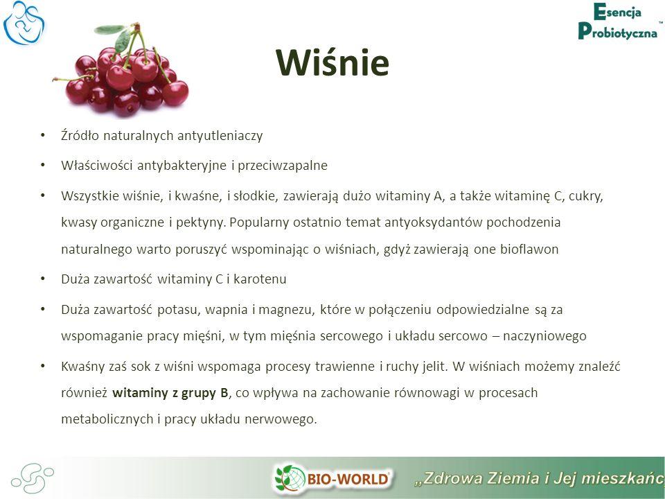 Źródło naturalnych antyutleniaczy Właściwości antybakteryjne i przeciwzapalne Wszystkie wiśnie, i kwaśne, i słodkie, zawierają dużo witaminy A, a także witaminę C, cukry, kwasy organiczne i pektyny.