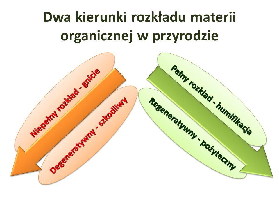 Dwa kierunki rozkładu materii organicznej w przyrodzie Pełny rozkład - humifikacja Niepełny rozkład - gnicie Degeneratywny - szkodliwy Regeneratywny - pożyteczny
