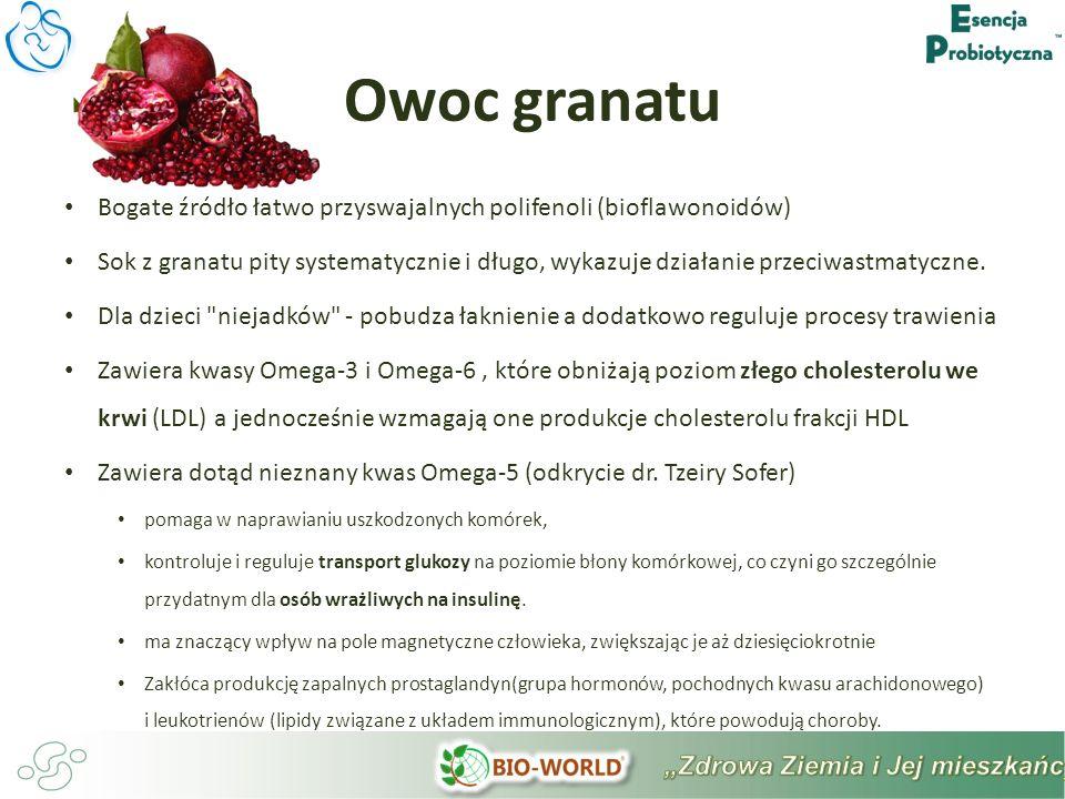 Bogate źródło łatwo przyswajalnych polifenoli (bioflawonoidów) Sok z granatu pity systematycznie i długo, wykazuje działanie przeciwastmatyczne.