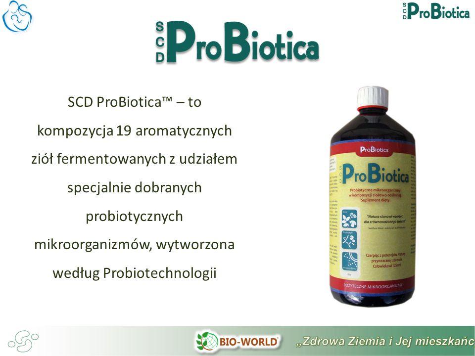 SCD ProBiotica – to kompozycja 19 aromatycznych ziół fermentowanych z udziałem specjalnie dobranych probiotycznych mikroorganizmów, wytworzona według Probiotechnologii