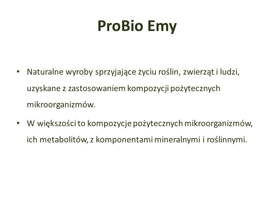 ProBio Emy Naturalne wyroby sprzyjające życiu roślin, zwierząt i ludzi, uzyskane z zastosowaniem kompozycji pożytecznych mikroorganizmów.