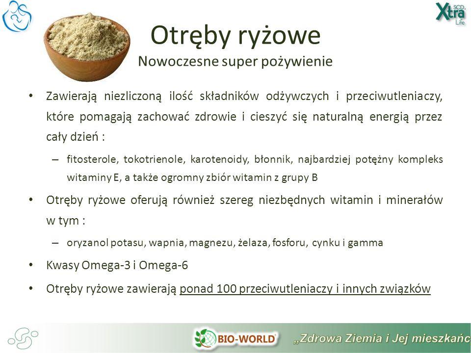 Zawierają niezliczoną ilość składników odżywczych i przeciwutleniaczy, które pomagają zachować zdrowie i cieszyć się naturalną energią przez cały dzień : – fitosterole, tokotrienole, karotenoidy, błonnik, najbardziej potężny kompleks witaminy E, a także ogromny zbiór witamin z grupy B Otręby ryżowe oferują również szereg niezbędnych witamin i minerałów w tym : – oryzanol potasu, wapnia, magnezu, żelaza, fosforu, cynku i gamma Kwasy Omega-3 i Omega-6 Otręby ryżowe zawierają ponad 100 przeciwutleniaczy i innych związków Otręby ryżowe Nowoczesne super pożywienie