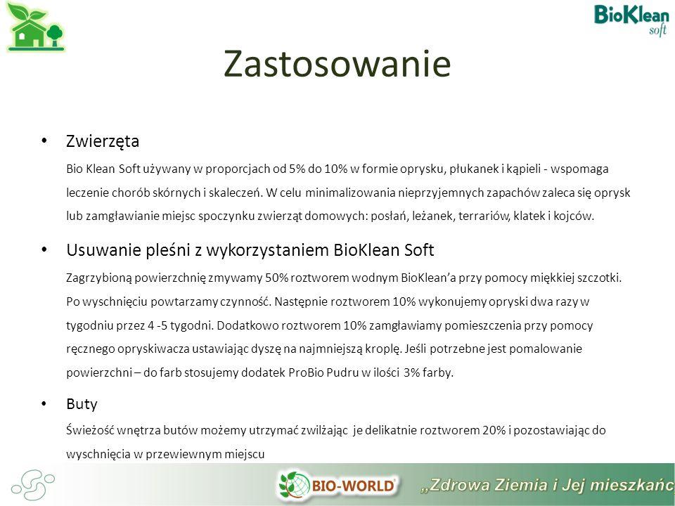 Zwierzęta Bio Klean Soft używany w proporcjach od 5% do 10% w formie oprysku, płukanek i kąpieli - wspomaga leczenie chorób skórnych i skaleczeń.