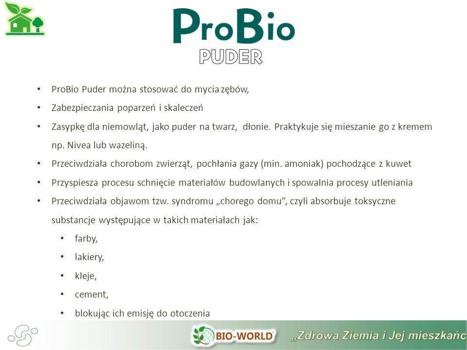ProBio Puder można stosować do mycia zębów, Zabezpieczania poparzeń i skaleczeń Zasypkę dla niemowląt, jako puder na twarz, dłonie.