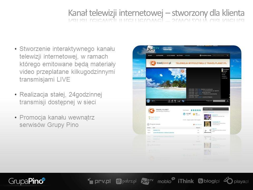 Stworzenie interaktywnego kanału telewizji internetowej, w ramach którego emitowane będą materiały video przeplatane kilkugodzinnymi transmisjami LIVE Realizacja stałej, 24godzinnej transmisji dostępnej w sieci Promocja kanału wewnątrz serwisów Grupy Pino