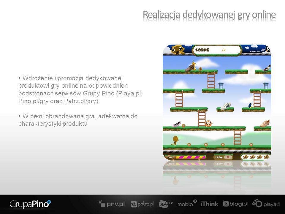 Wdrożenie i promocja dedykowanej produktowi gry online na odpowiednich podstronach serwisów Grupy Pino (Playa.pl, Pino.pl/gry oraz Patrz.pl/gry) W pełni obrandowana gra, adekwatna do charakterystyki produktu