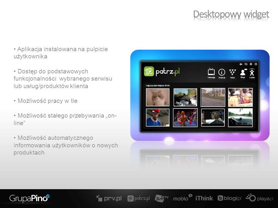Aplikacja instalowana na pulpicie użytkownika Dostęp do podstawowych funkcjonalności wybranego serwisu lub usług/produktów klienta Możliwość pracy w tle Możliwość stałego przebywania on- line Możliwość automatycznego informowania użytkowników o nowych produktach
