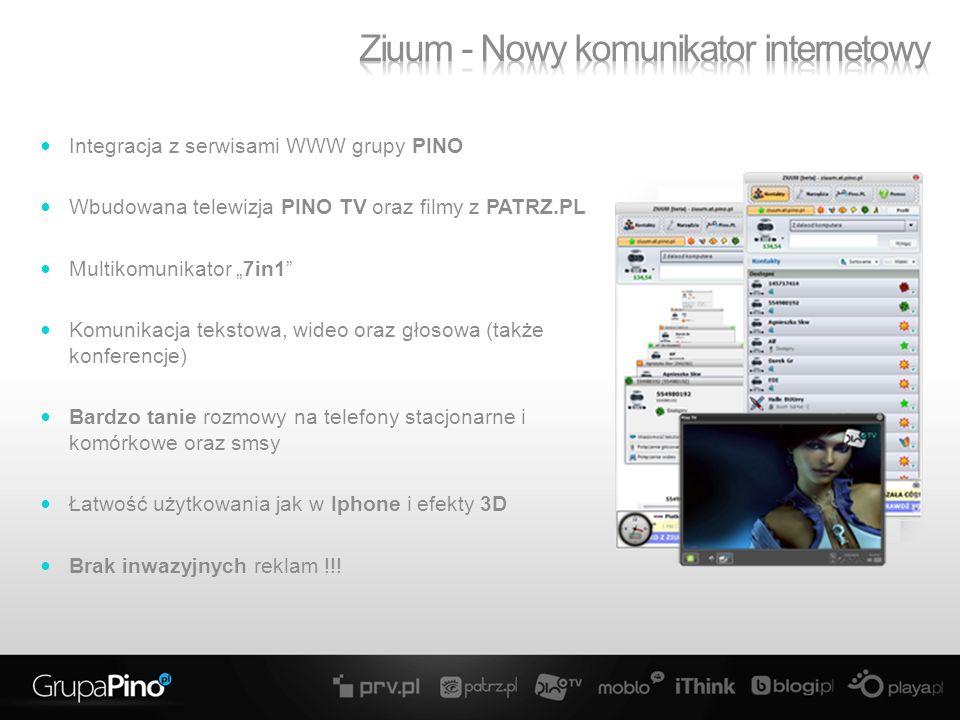 Integracja z serwisami WWW grupy PINO Wbudowana telewizja PINO TV oraz filmy z PATRZ.PL Multikomunikator 7in1 Komunikacja tekstowa, wideo oraz głosowa (także konferencje) Bardzo tanie rozmowy na telefony stacjonarne i komórkowe oraz smsy Łatwość użytkowania jak w Iphone i efekty 3D Brak inwazyjnych reklam !!!