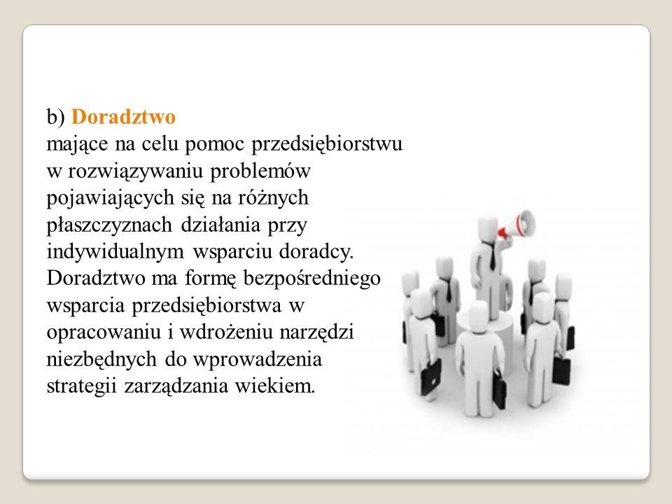 b) Doradztwo mające na celu pomoc przedsiębiorstwu w rozwiązywaniu problemów pojawiających się na różnych płaszczyznach działania przy indywidualnym w
