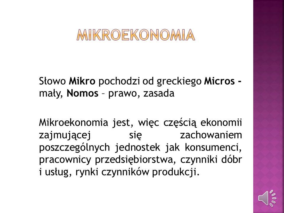 Ekonomia normatywna Ekonomia pozytywna Mikroekonomia Makroekonomia