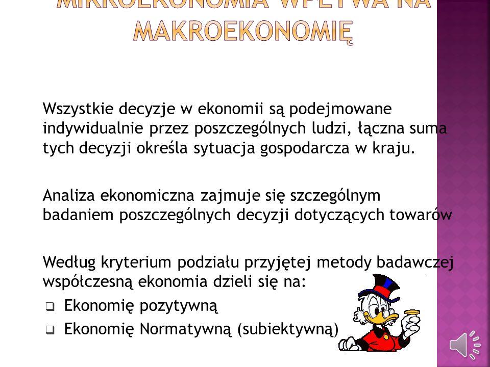 Mikroekonomia bada decyzje alokacyjne, zasady oraz przesłanki racjonalnego gospodarowania podmiotów gospodarczych, bada i analizuje rynki na poszczegó