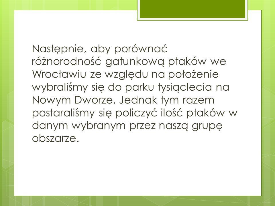Następnie, aby porównać różnorodność gatunkową ptaków we Wrocławiu ze względu na położenie wybraliśmy się do parku tysiąclecia na Nowym Dworze. Jednak