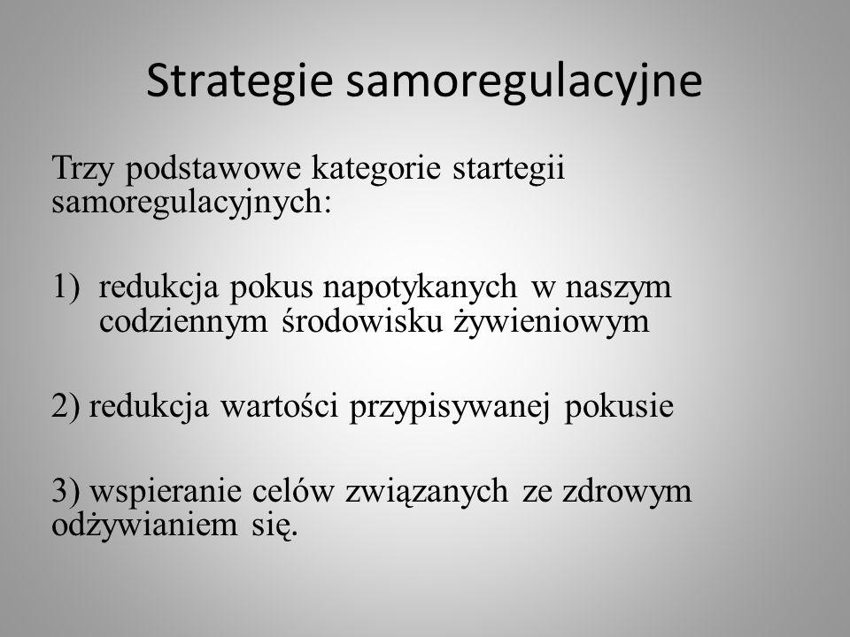 Strategie samoregulacyjne Trzy podstawowe kategorie startegii samoregulacyjnych: 1)redukcja pokus napotykanych w naszym codziennym środowisku żywienio