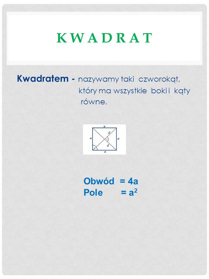 K W A D R A T Kwadratem - nazywamy taki czworokąt, który ma wszystkie boki i kąty równe. Obwód = 4a Pole = a 2