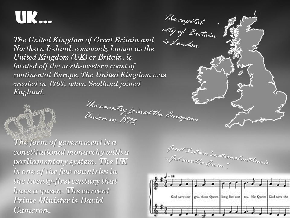 …it consists of four countries: England, Scotland, Wales and Northern Ireland, colloquially- Ulster.