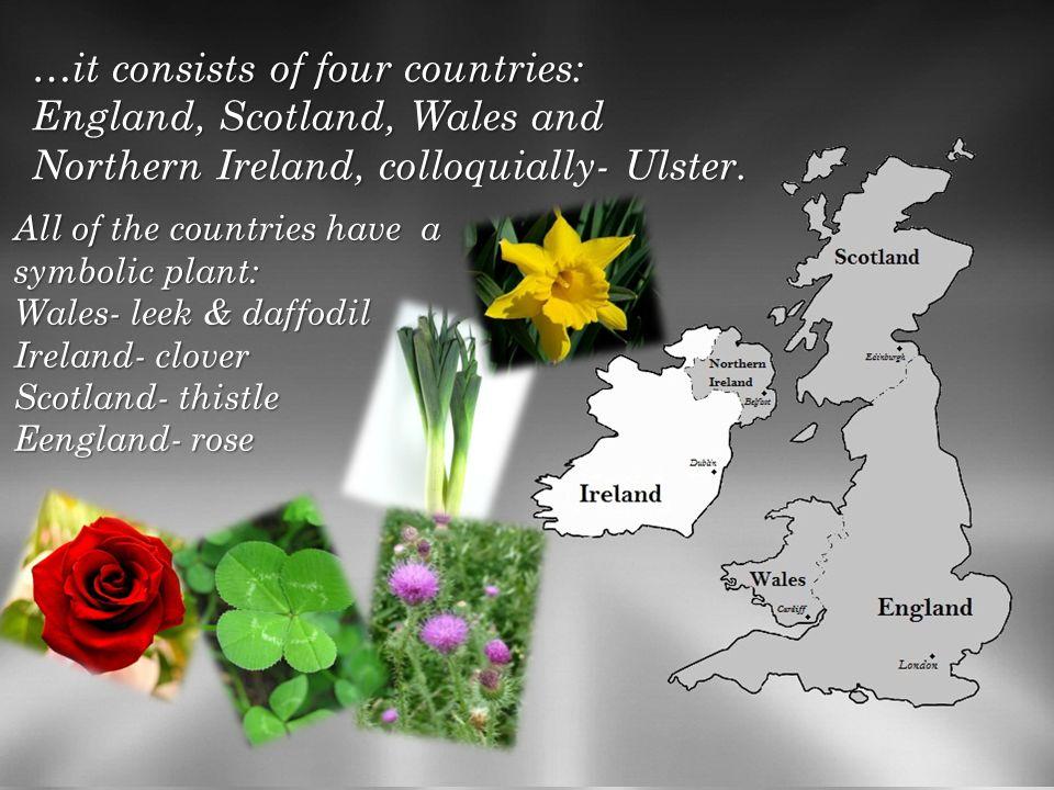 …it consists of four countries: England, Scotland, Wales and Northern Ireland, colloquially- Ulster. Walia – por i żonkil. Anglia –róża. Szkocja –oset