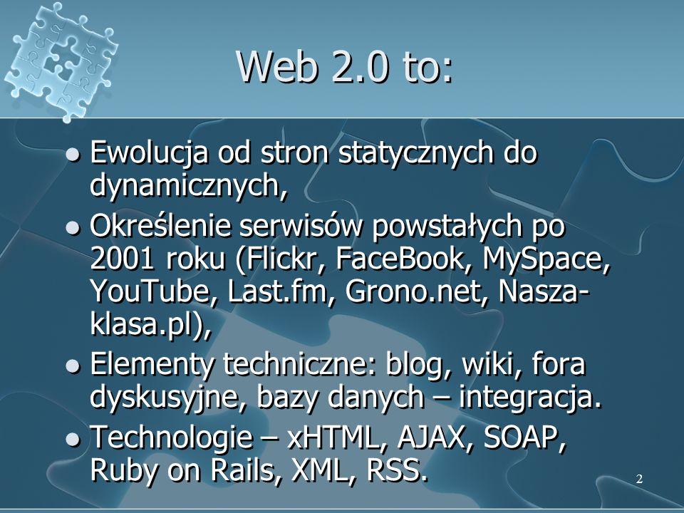 2 Web 2.0 to: Ewolucja od stron statycznych do dynamicznych, Określenie serwisów powstałych po 2001 roku (Flickr, FaceBook, MySpace, YouTube, Last.fm, Grono.net, Nasza- klasa.pl), Elementy techniczne: blog, wiki, fora dyskusyjne, bazy danych – integracja.
