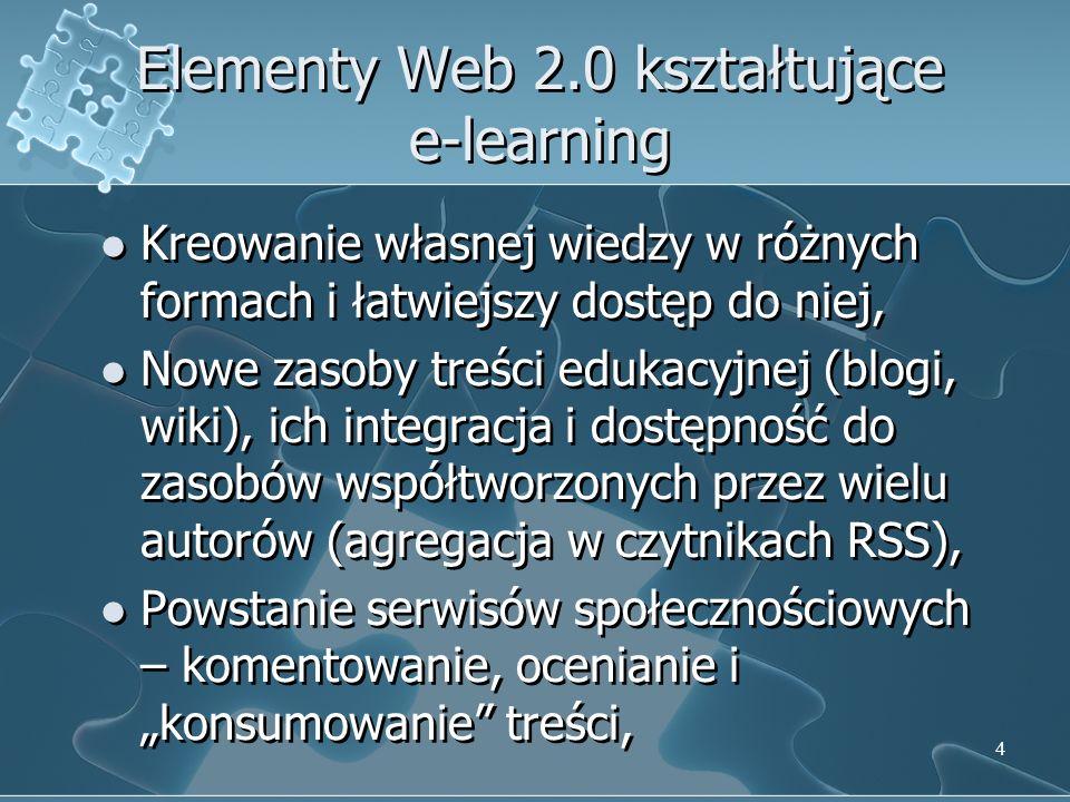 4 Elementy Web 2.0 kształtujące e-learning Kreowanie własnej wiedzy w różnych formach i łatwiejszy dostęp do niej, Nowe zasoby treści edukacyjnej (blogi, wiki), ich integracja i dostępność do zasobów współtworzonych przez wielu autorów (agregacja w czytnikach RSS), Powstanie serwisów społecznościowych – komentowanie, ocenianie i konsumowanie treści, Kreowanie własnej wiedzy w różnych formach i łatwiejszy dostęp do niej, Nowe zasoby treści edukacyjnej (blogi, wiki), ich integracja i dostępność do zasobów współtworzonych przez wielu autorów (agregacja w czytnikach RSS), Powstanie serwisów społecznościowych – komentowanie, ocenianie i konsumowanie treści,