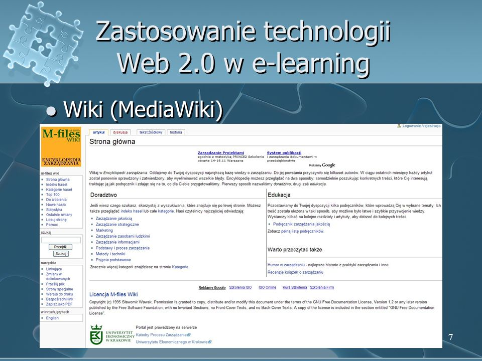 8 Zastosowanie technologii Web 2.0 w e-learning RSS (Really Simple Sindication)