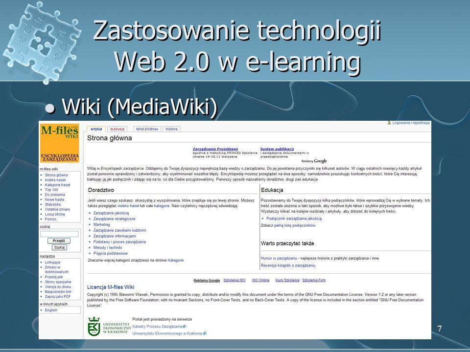 7 Zastosowanie technologii Web 2.0 w e-learning Wiki (MediaWiki)