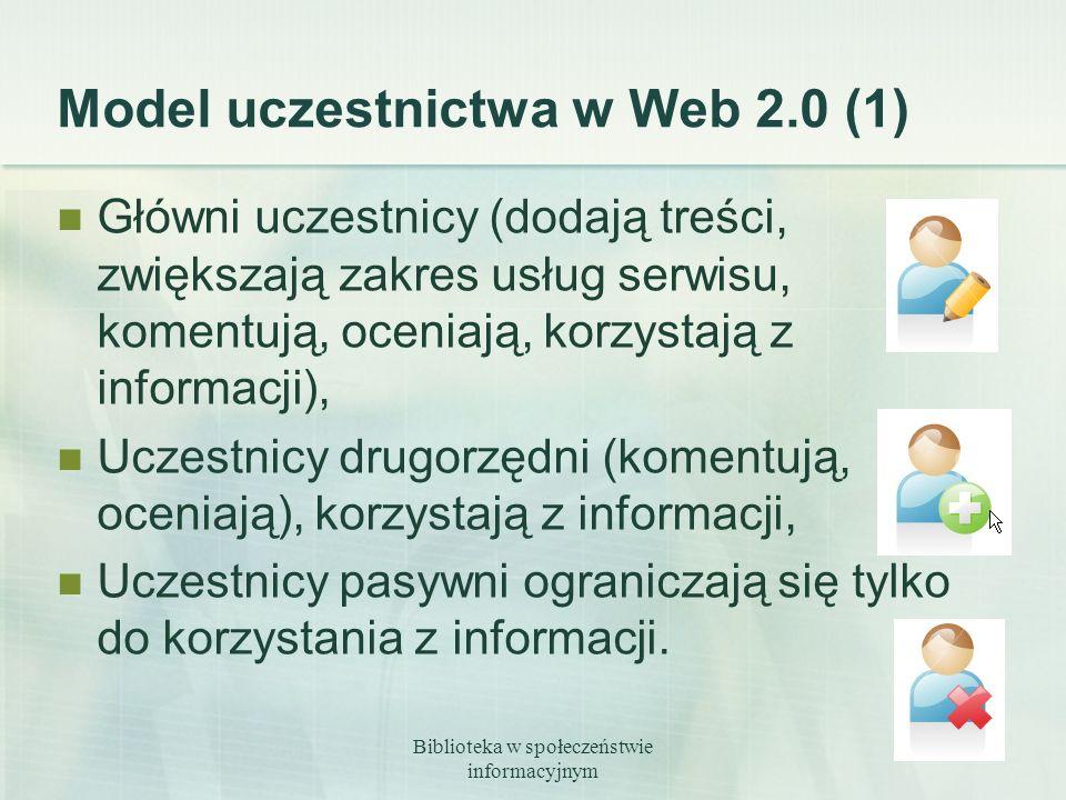 Biblioteka w społeczeństwie informacyjnym 12 Model uczestnictwa w Web 2.0 (1) Główni uczestnicy (dodają treści, zwiększają zakres usług serwisu, komen