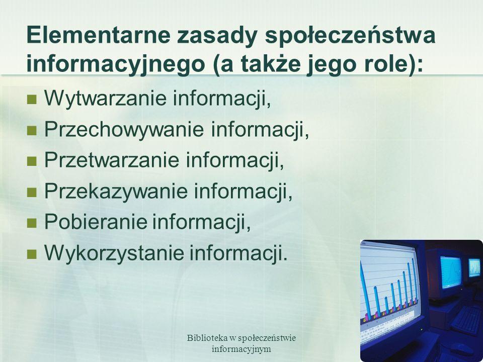 Biblioteka w społeczeństwie informacyjnym 3 Elementarne zasady społeczeństwa informacyjnego (a także jego role): Wytwarzanie informacji, Przechowywani