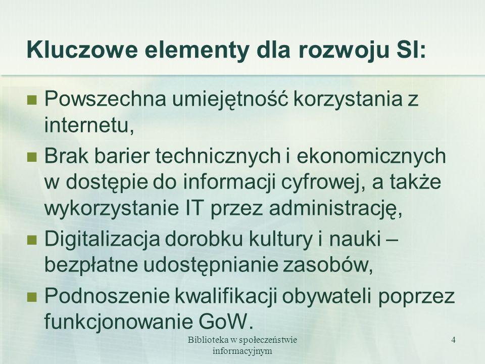 Biblioteka w społeczeństwie informacyjnym 4 Kluczowe elementy dla rozwoju SI: Powszechna umiejętność korzystania z internetu, Brak barier technicznych