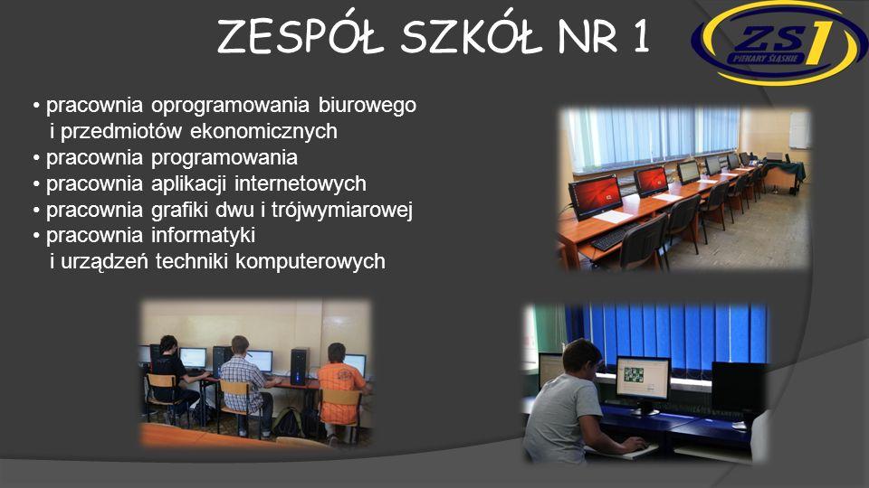 ZESPÓŁ SZKÓŁ NR 1 pracownia oprogramowania biurowego i przedmiotów ekonomicznych pracownia programowania pracownia aplikacji internetowych pracownia grafiki dwu i trójwymiarowej pracownia informatyki i urządzeń techniki komputerowych