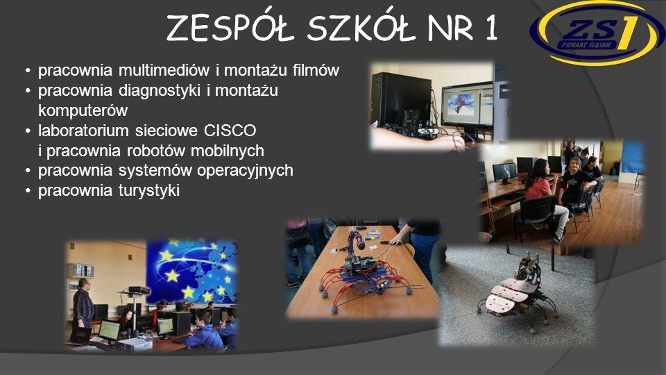 ZESPÓŁ SZKÓŁ NR 1 pracownia multimediów i montażu filmów pracownia diagnostyki i montażu komputerów laboratorium sieciowe CISCO i pracownia robotów mobilnych pracownia systemów operacyjnych pracownia turystyki