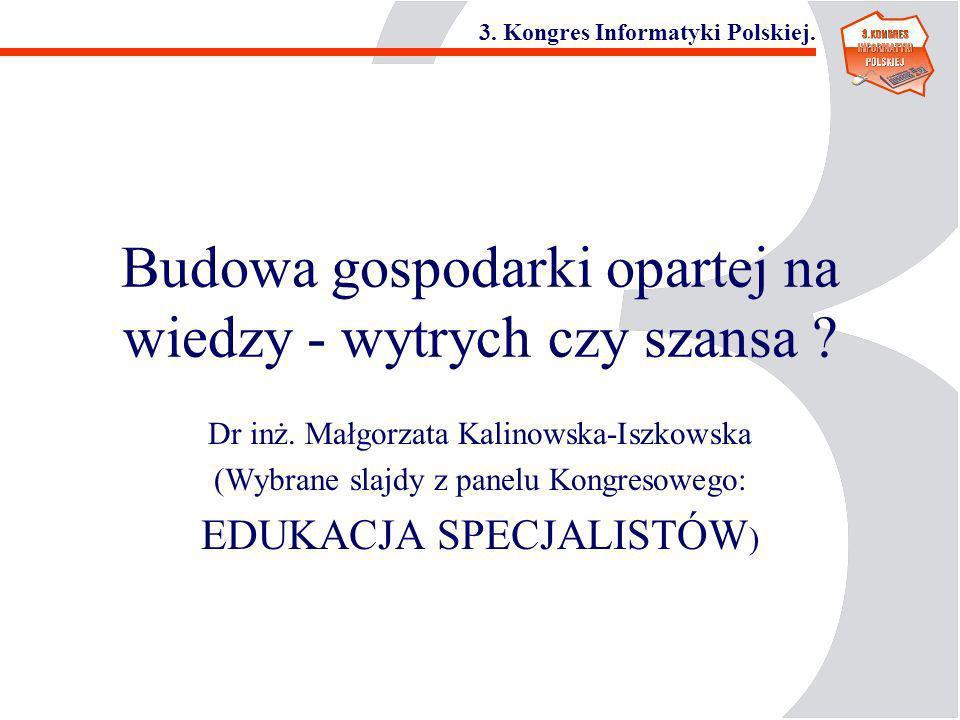 3. Kongres Informatyki Polskiej. Budowa gospodarki opartej na wiedzy - wytrych czy szansa ? Dr inż. Małgorzata Kalinowska-Iszkowska (Wybrane slajdy z