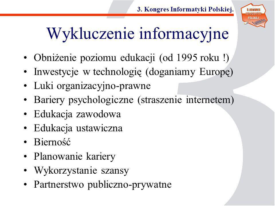 3. Kongres Informatyki Polskiej. Wykluczenie informacyjne Obniżenie poziomu edukacji (od 1995 roku !) Inwestycje w technologię (doganiamy Europę) Luki
