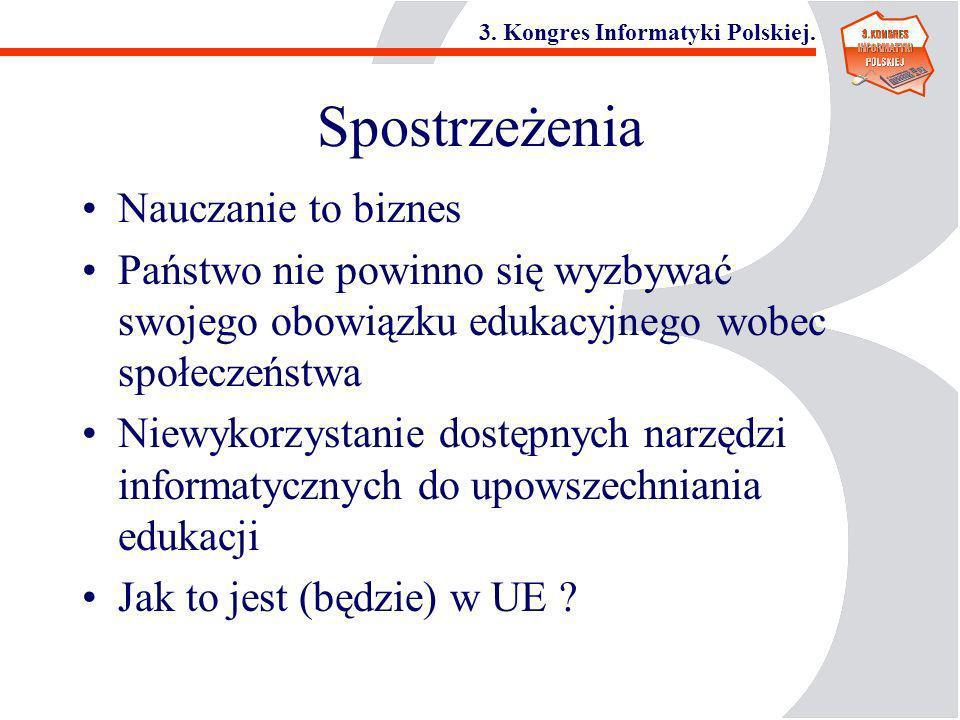3. Kongres Informatyki Polskiej. Spostrzeżenia Nauczanie to biznes Państwo nie powinno się wyzbywać swojego obowiązku edukacyjnego wobec społeczeństwa