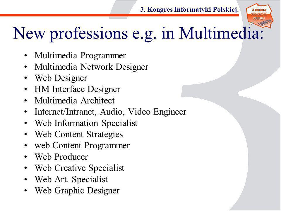3. Kongres Informatyki Polskiej. New professions e.g. in Multimedia: Multimedia Programmer Multimedia Network Designer Web Designer HM Interface Desig