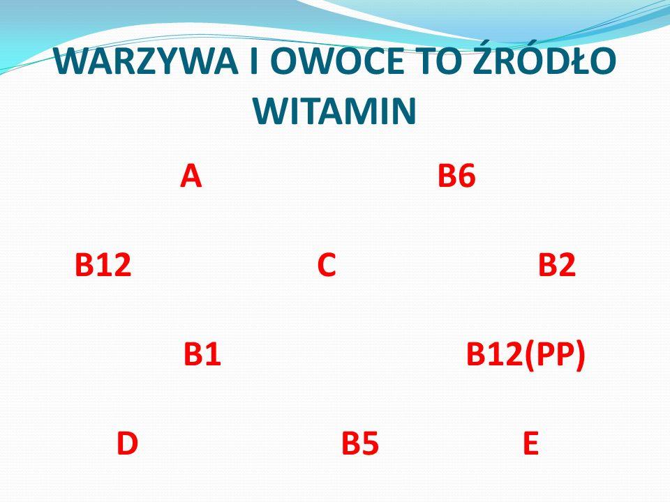 WARZYWA I OWOCE TO ŹRÓDŁO WITAMIN A B6 B12 C B2 B1 B12(PP) D B5 E