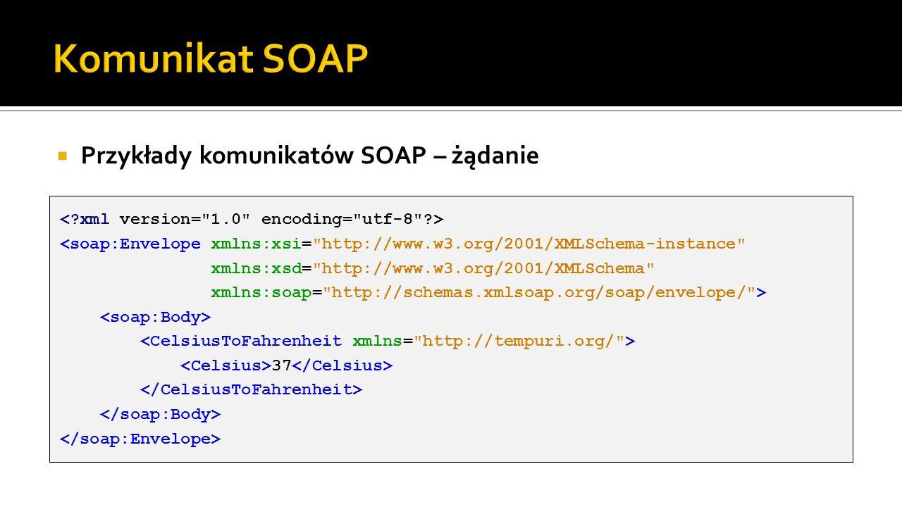 Przykłady komunikatów SOAP – żądanie 37