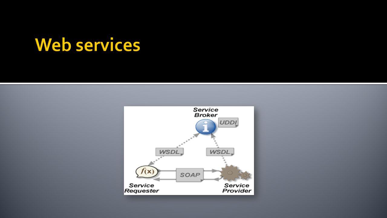 Web Service Description Language Język oparty na XML Model opisu usług sieciowych Definicja: usług dostępnych pod danym adresem operacji udostępnianych przez usługi parametrów wejściowych i wyjściowych operacji