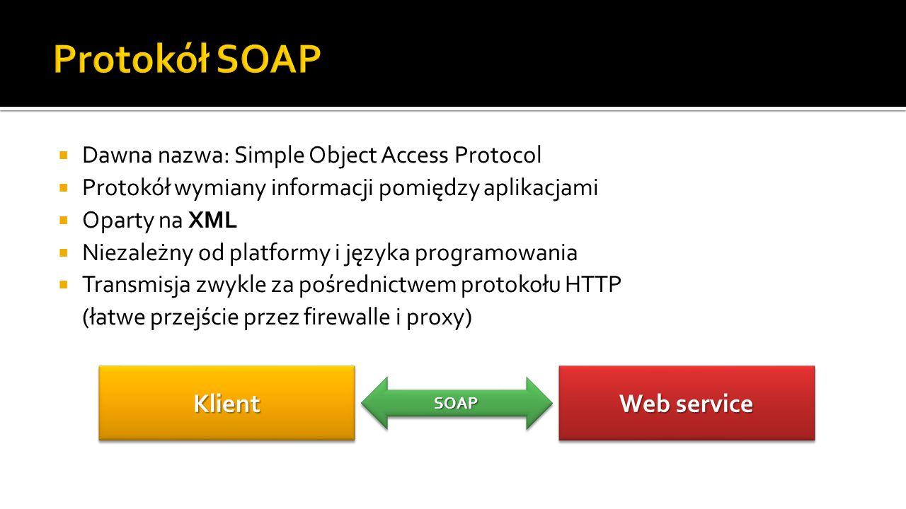 Komunikat SOAP = dokument XML Części składowe komunikatu SOAP Envelope–identyfikacja dokumentu jako komunikatu SOAP Header–informacje nagłówkowe Body–właściwa treść żądania/odpowiedzi Fault–informacje o błędach i statusie SOAP Envelope SOAP Header SOAP Body