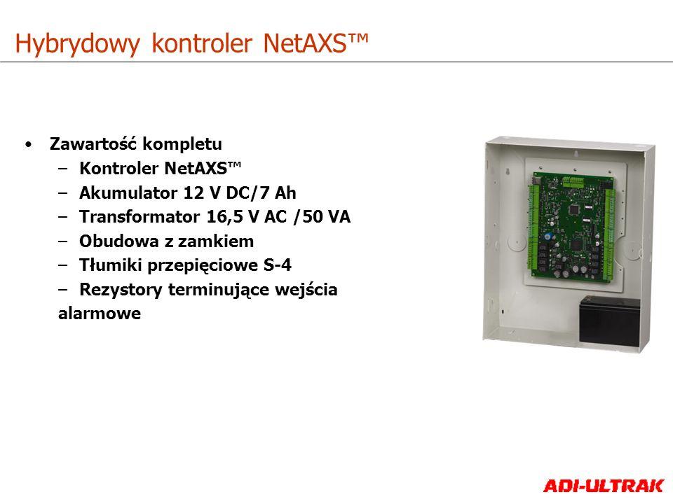 Zawartość kompletu –Kontroler NetAXS –Akumulator 12 V DC/7 Ah –Transformator 16,5 V AC /50 VA –Obudowa z zamkiem –Tłumiki przepięciowe S-4 –Rezystory