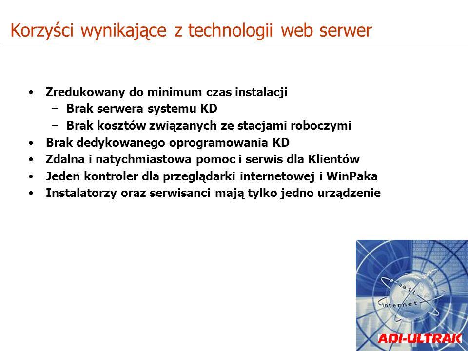 Zredukowany do minimum czas instalacji –Brak serwera systemu KD –Brak kosztów związanych ze stacjami roboczymi Brak dedykowanego oprogramowania KD Zda