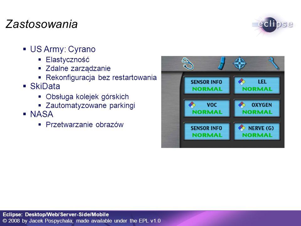 Eclipse: Desktop/Web/Server-Side/Mobile © 2008 by Jacek Pospychala; made available under the EPL v1.0 Zastosowania US Army: Cyrano Elastyczność Zdalne zarządzanie Rekonfiguracja bez restartowania SkiData Obsługa kolejek górskich Zautomatyzowane parkingi NASA Przetwarzanie obrazów