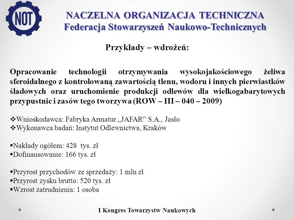 NACZELNA ORGANIZACJA TECHNICZNA Federacja Stowarzyszeń Naukowo-Technicznych I Kongres Towarzystw Naukowych Przykłady – wdrożeń: Opracowanie technologi
