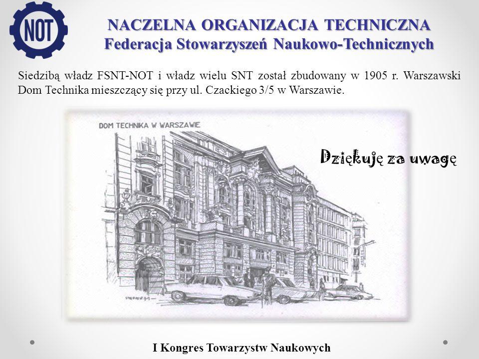 NACZELNA ORGANIZACJA TECHNICZNA Federacja Stowarzyszeń Naukowo-Technicznych Siedzibą władz FSNT-NOT i władz wielu SNT został zbudowany w 1905 r. Warsz