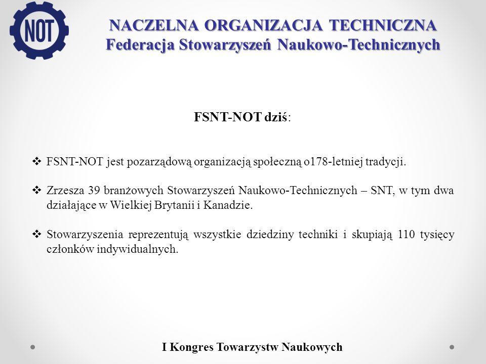 NACZELNA ORGANIZACJA TECHNICZNA Federacja Stowarzyszeń Naukowo-Technicznych I Kongres Towarzystw Naukowych FSNT-NOT dziś: FSNT-NOT jest pozarządową or