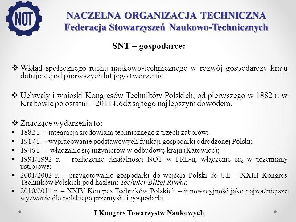NACZELNA ORGANIZACJA TECHNICZNA Federacja Stowarzyszeń Naukowo-Technicznych SNT – gospodarce: Celem strategicznym Federacji i zrzeszonych w niej SNT od 2001 r.